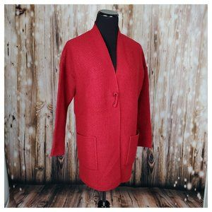 J. Jill Easy Textured Cardi Open Front Red XSP